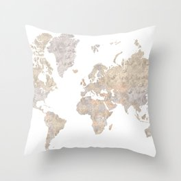 """World map in gray and brown watercolor """"Abey"""" Throw Pillow"""