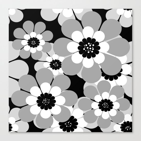 The floral pattern . black, grey , white . Canvas Print