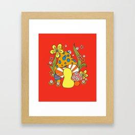 Retro Mushroom Framed Art Print
