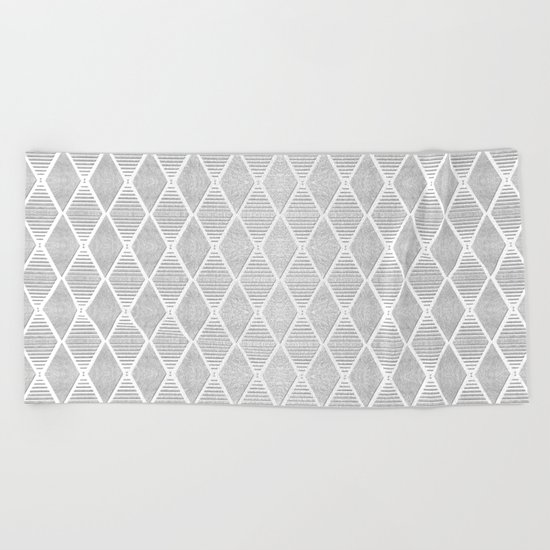White and Silver Geometric Pattern Beach Towel