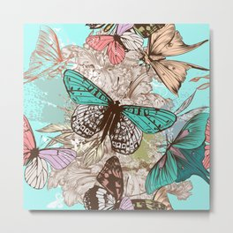 Beautiful print with hand drawn butterflies in vintage style Metal Print