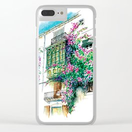 Ibiza old town charming windows with Bougainvilleas Clear iPhone Case