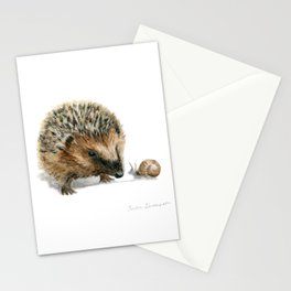 """""""Close Encounter"""" painting of a Hedgehog and Snail by Teresa Thompson Stationery Cards"""