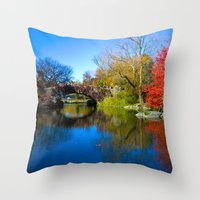 central park Throw Pillows featuring Central Park by Davide Carnevale