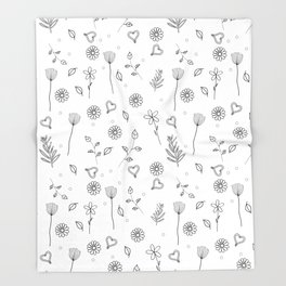 Spring Floral Pattern Throw Blanket