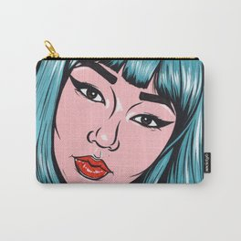 Blue Bangs Asian Comic Girl Carry-All Pouch