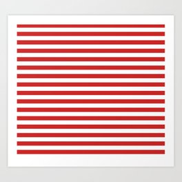 Red and White Candy Cane Stripes Thick Horizontal Lines, Festive Christmas Holiday Art Print