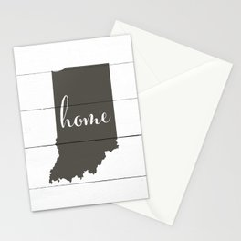 Indiana is Home - Charcoal on White Wood Stationery Cards