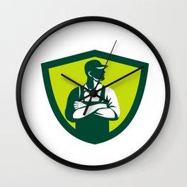 Organic Farmer Arms Folded Looking Side Crest Retro Wall Clock