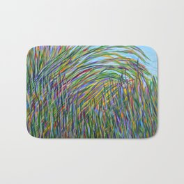 Tropical Green Abstract, Seagrass Color Study, Contemporary Colorful Home Decor Bath Mat