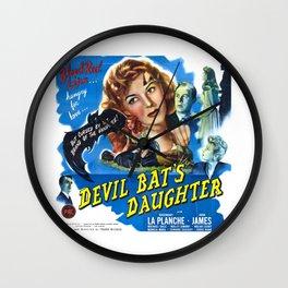 Devil Bat's Daughter, vintage horror movie poster Wall Clock