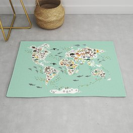 Cartoon animal world map for children, kids, Animals from all over the world, back to school, mint Rug