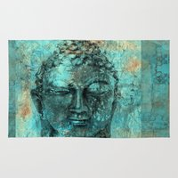buddha Area & Throw Rugs featuring Buddha by woman