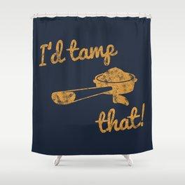 I'd Tamp That! (Espresso Portafilter) // Mustard Yellow Barista Coffee Shop Humor Graphic Design Shower Curtain