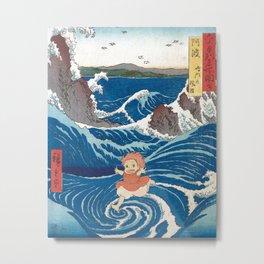 Ponyo and vintage japanese woodblock mashup Metal Print