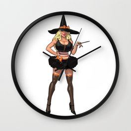 Halloween witch pumpkin sabrina scary graveyard sexy spooky spider broomstick hat holiday bats Wall Clock