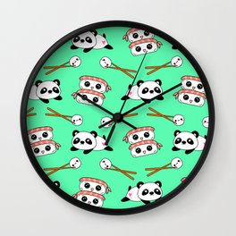 Cute funny Kawaii chibi little playful baby panda bears, happy cheerful sushi with shrimp on top, rice balls and chopsticks bright teal green pattern design. Nursery decor. Wall Clock