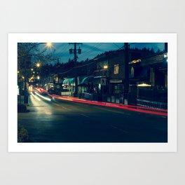 Marine Drive Light Streaks Art Print