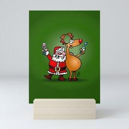 Santa Claus and his Reindeer Mini Art Print