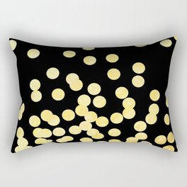 Cruz - Gold Foil Dots on Black - Scattered gold dots, polka dots, dots by Charlotte Winter Rectangular Pillow