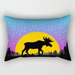 Moose Moon Light Pink and Light Blue Rectangular Pillow