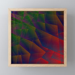 Abstract dark pattern of green and overlapping red triangles and irregularly shaped lines. Framed Mini Art Print