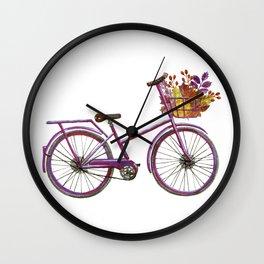 Watercolor bicycle print Wall Clock