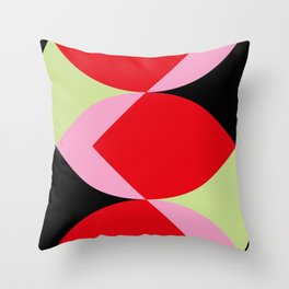 Snake Shaped Window in a black wall. Red and pink acorns in the background, on a soft green grass. Throw Pillow