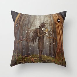 Raven in forest Throw Pillow