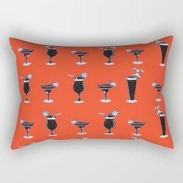 Tropical Cocktails Glass Seamless Vector Pattern, Drawn Bar Drinks Rectangular Pillow