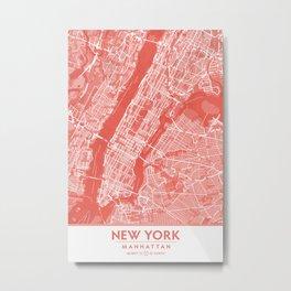 Living Coral Blush Pink Mantel Decor showing Manhattan New York City. Minimalist Layered Artwork Metal Print