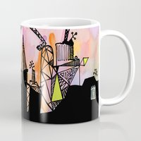 black cat Mugs featuring black cat by Bunny Noir