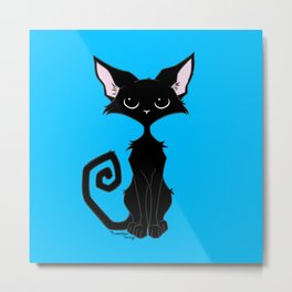 Black Cat - Cool Blue Metal Print