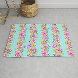 Luscious Jungle Flower And Leaf Stripes on Turquoise Rug