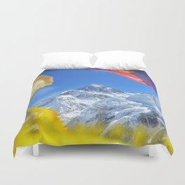 Summit of mount Everest or Chomolungma - highest mountain in the world, view from Kala Patthar,Nepal Duvet Cover