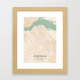 Kinshasa, D.R. Congo - Vintage Map Framed Art Print