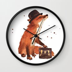 Fox in hat, office decor, gift for the boss, fox, fox painting, British fox Wall Clock