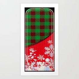 Red and Green Winter Charm Plaid checkers lines pattern vinyl buffalo checkered fabric cozy omamori Art Print
