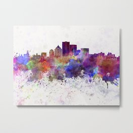 Rochester NY skyline in watercolor background Metal Print