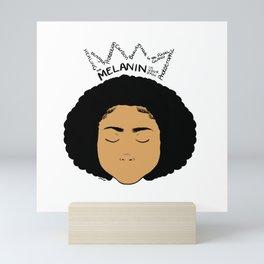 Melanin Crown - Girl 5 - Digital Illustration - Afro Mini Art Print