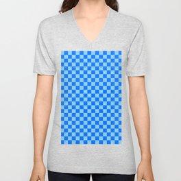 Baby Blue and Brandeis Blue Checkerboard Unisex V-Neck