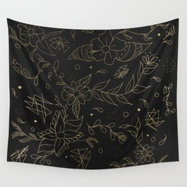 Gold foil floral pattern and geometric triangles on grey Wall Tapestry
