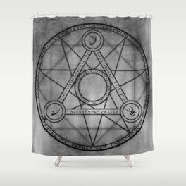 Runes | Geometry | Sacred | Pentgram | Star Designs | Star Decor Shower Curtain
