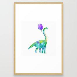 brachiosaurus with balloon Framed Art Print