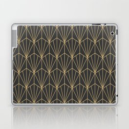 Art Deco Vector in Charcoal and Gold Laptop & iPad Skin