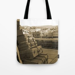 Llangollen Railway Station, Wales,  in Sepia Tote Bag