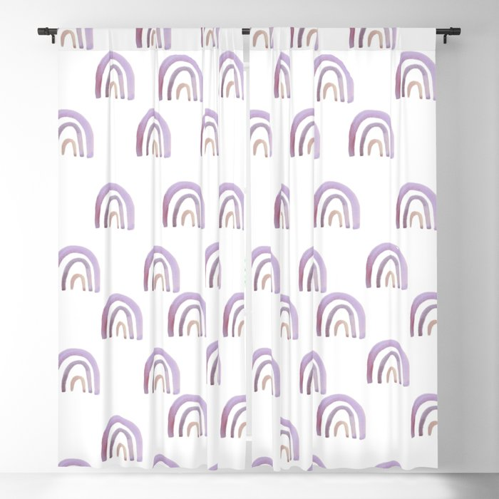 Lilac Lavender Rainbows Blackout Curtain