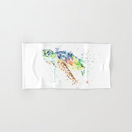 Sea Turtle Colorful Watercolor Painting Hand & Bath Towel