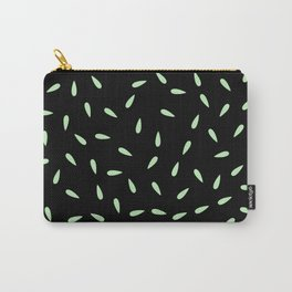 Green Mint Water Drops on Black Background Carry-All Pouch
