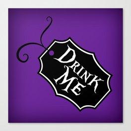 """Drink Me"" Alice in Wonderland styled Bottle Tag Design in 'Shy Violets' Canvas Print"